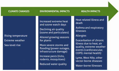 Health impacts of a changing climate