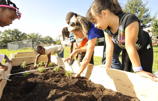 Students plant the Healthy Living Garden at Orange Center Elementary (Orlando Health)